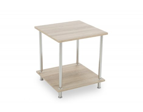 AVF T52WO 2 Tier Square Lamp Table with Chrome Legs - Whitewashed Oak