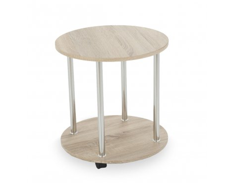 AVF T62WO 2 Tier Round Lamp Table with Chrome Legs - Whitewashed Oak