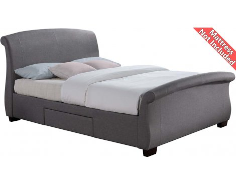 Birlea Furniture Barcelona Fabric Bed Frame with Drawers - Double 4ft6 - Grey