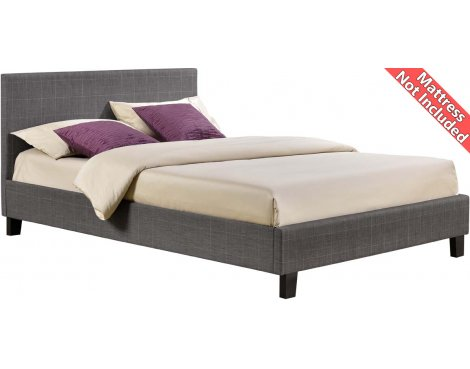 Birlea Furniture Berlin Checkered Fabric Bed Frame - Double 4ft6 - Grey