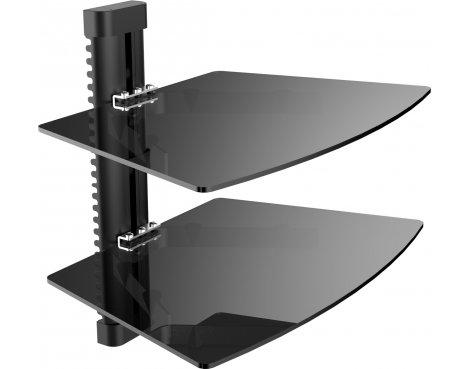 Stealth Mounts SVD-022 Black Glass Shelving Unit