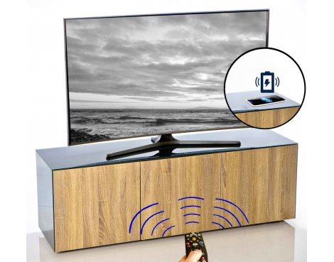 """Frank Olsen INTEL1500GRY-OAK Grey and Oak TV Cabinet For TVs Up To 70\"""""""