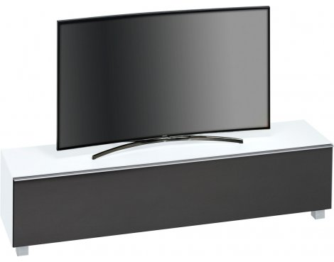 "Maja White Matt Glass TV Stand for up to 80"" TVs"