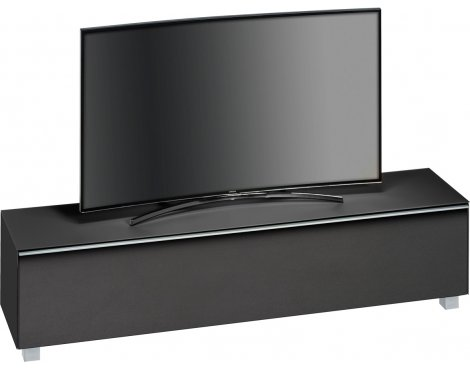 "Maja Black Matt Glass TV Stand for up to 80"" TVs"