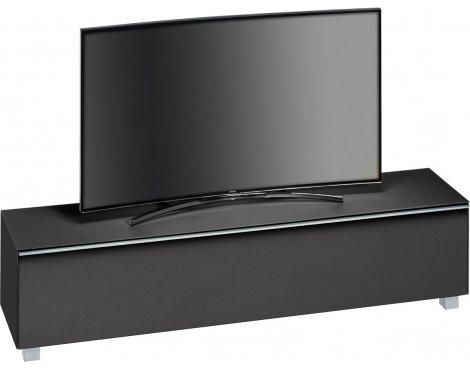 """Maja Black Matt Glass TV Stand for up to 80\"""" TVs"""