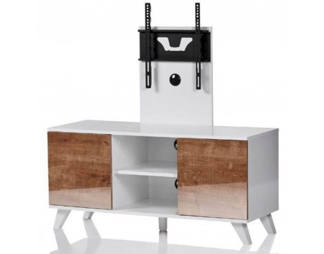 "Madrid White and Oak TV Stand for up to 52"" TVs"