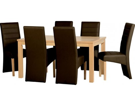 ValuFurniture Belmont Dining Set in Oak Veneer/Brown Faux Leather