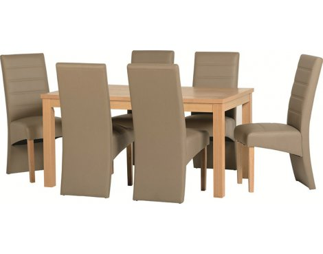 ValuFurniture Belmont Dining Set in Oak Veneer/Taupe Faux Leather