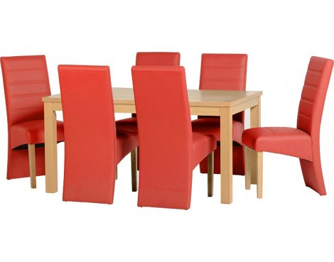 ValuFurniture Belmont Dining Set in Oak Veneer/Red Faux Leather
