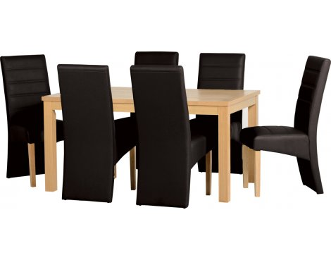 ValuFurniture Belmont Dining Set in Oak Veneer/Black Faux Leather