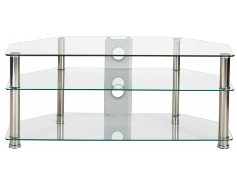 MMT Rome P5CCH1250 Clear Glass Corner TV Stand for up to 55""