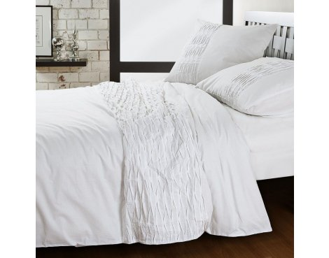 Prime Viera Deluxe Bali Duvet Cover Set - White - King 5ft