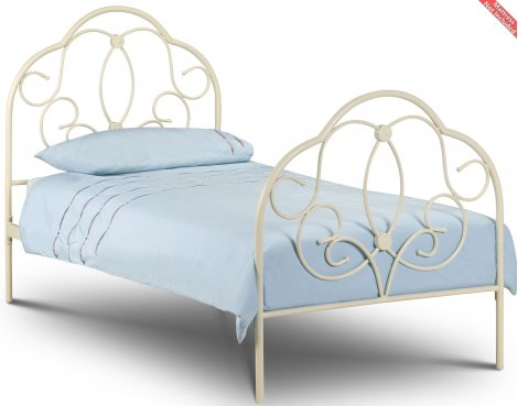 Julian Bowen Arabella Stone White Single Metal Bed 90cm