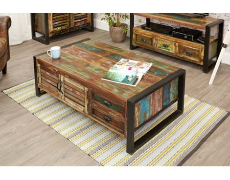 Baumhaus IRF08B Urban Chic 4 Door 4 Drawer Coffee Table