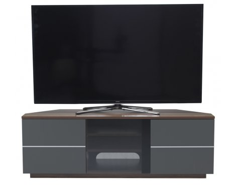 "UK-CF New Milan Walnut/Grey TV stand for up to 65"" TVs"