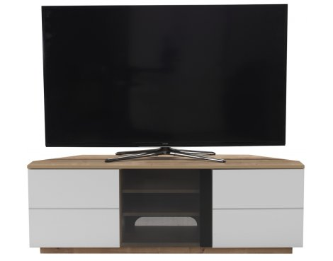 """UK-CF New Milan Oak/White TV stand for up to 65\"""" TVs"""