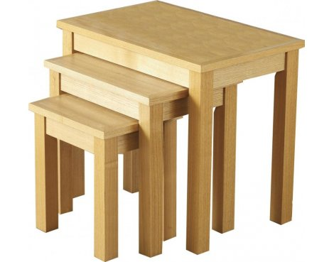 ValuFurniture Oakleigh Nest of 3 Tables - Natural Oak Veneer