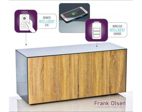 "Frank Olsen INTEL1100GRY-OAK Grey TV Cabinet For TVs Up To 55\"" Assembled"