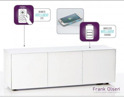 "Frank Olsen INTEL1500WHT White TV Cabinet For TVs Up To 70\"" Assembled"