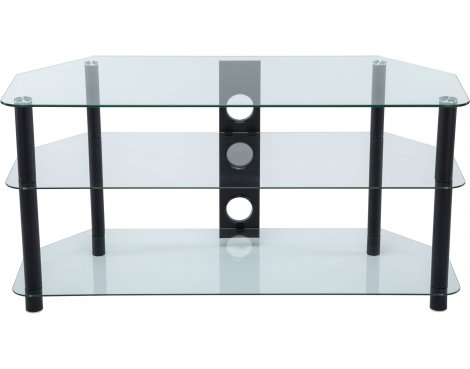 Stealth Mounts 1000mm Clear Glass & Black Legs TV Stand for TVs up to 50""