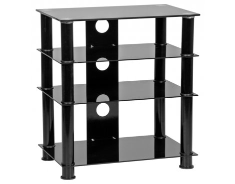 MMT 4 Shelf Black Glass HiFi Stand