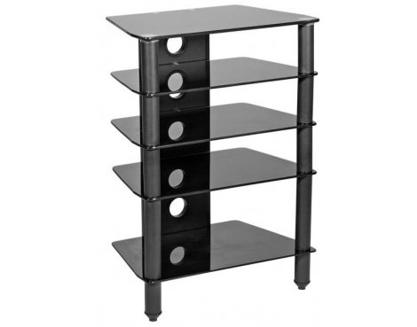 MMT 5 Shelf Black Glass Corner HiFi Stand