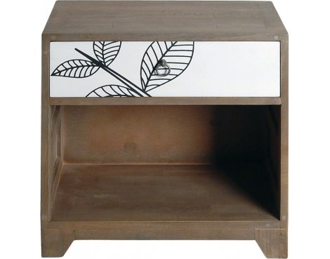Ultimum Floral Side Table with 1 Drawer and Lower Shelf with White Print