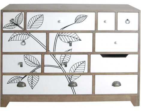 Ultimum Floral 12 Drawer Sideboard with White Print