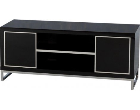 Valufurniture Charisma 2 Door 1 Shelf Flat Screen TV Stand - Black Gloss/Chrome