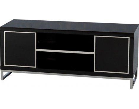 Valufurniture Charisma 2 Door 1 Shelf Flat Screen TV Stand - Black Gloss/Chrome