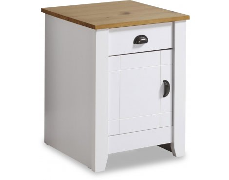 Valufurniture Ludlow Bedside Cabinet White/Oak