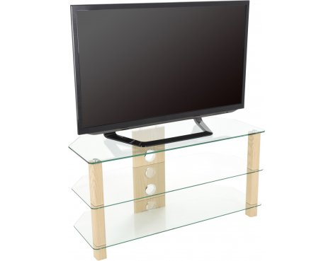 """AVF WG Series Glass Corner TV Stand for TVs up to 50\"""" - Oak & Clear"""