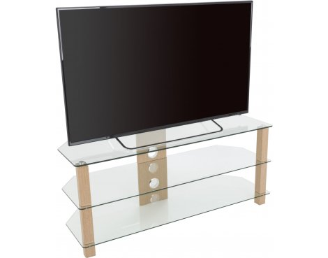 """AVF WG Series Glass Corner TV Stand for TVs up to 60\"""" - Oak & Clear"""
