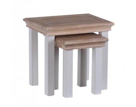 Besp-Oak Rosa Nest of 2 Tables - Chalked Oak & Light Grey