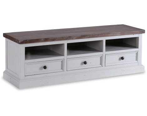 """Besp-Oak Hamptons TV Unit with 3 Drawers for up to 60\"""" TVs - Dark Pine & Grey"""