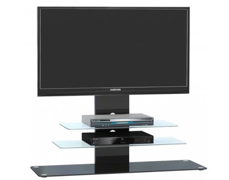 """Maja 1643 Black Glass TV Stand for up to 55\"""" TVs"""