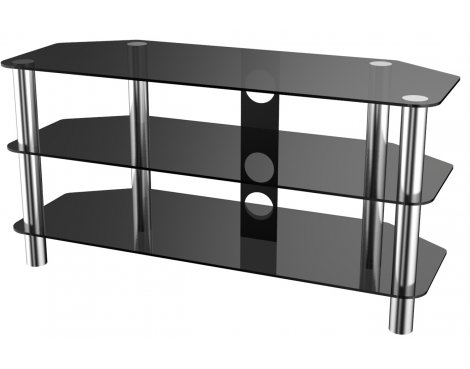 """Stealth Mounts 1000mm Black Glass and Chrome TV Stand for TVs up to 50\"""""""