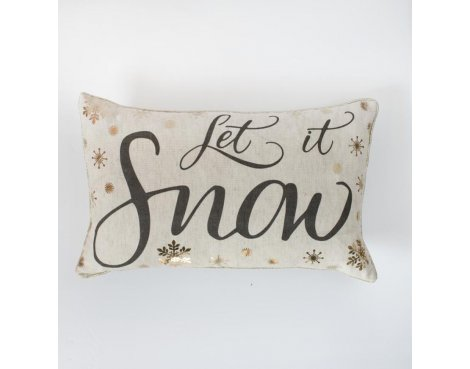 Gallery \'Let it Snow\' Metallic Printed Cushion