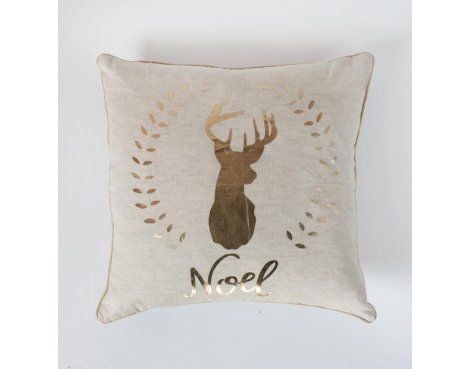 Gallery \'Noel\' Stag Metallic Printed Cushion