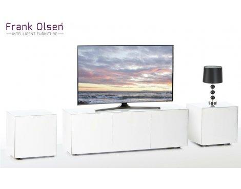 Frank Olsen White INTEL1100WHT TV Cabinet and 2 x INTELLAMP-WHT Lamp Tables