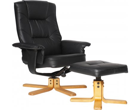 Alphason Drake Faux Leather Recliner with Footstool - Black