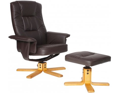 Alphason Drake Faux Leather Recliner with Footstool - Brown