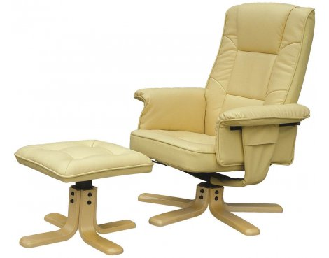 Alphason Drake Faux Leather Recliner with Footstool - Cream