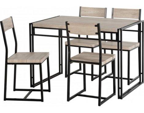 TNW Burton Dining Set in Oak Effect Veneer/Black