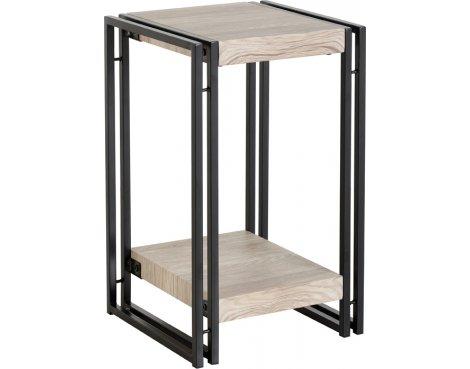 TNW Burton Low Lamp Table in Oak Effect Veneer/Black