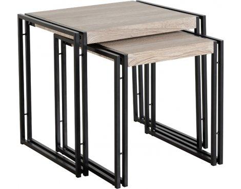 TNW Burton Nest Of 2 Tables in Oak Effect Veneer/Black