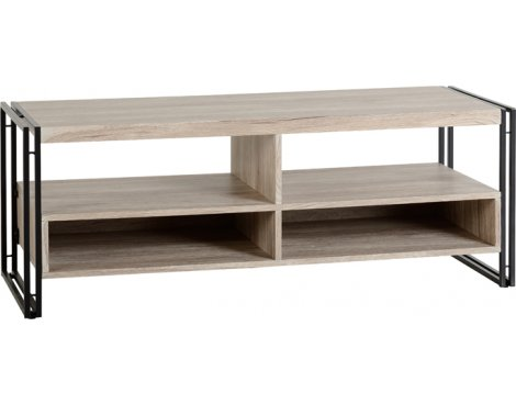 TNW Burton TV Stand in Oak Effect Veneer/Black For Up To 50""