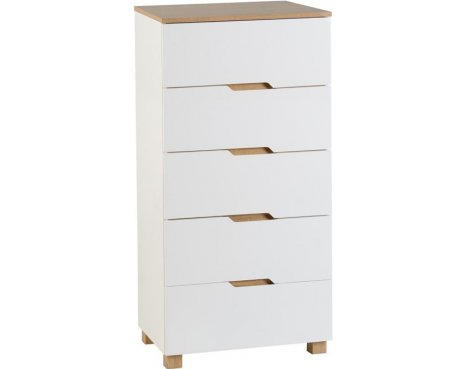 TNW Whickham 5 Drawer Chest White/Oak Effect Veneer
