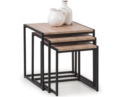 Mason and Bailey Hamilton Oak Effect Nest of 3 Tables