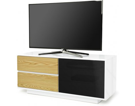"""MDA Gallus Ultra Gloss White and Oak TV Cabinet For 55\"""" TV\'s"""